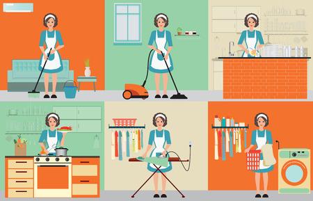 Señora conjunto de la limpieza del ama de casa, planchar, cocinar y lavar con equipos de trabajo en el hogar, la mujer ama de casa conjunto Ilustración del vector del carácter. Ilustración de vector