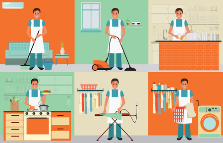 House husband cleaning, ironing, cooking and washing with equipment working at home, man househusband set character vector illustration.