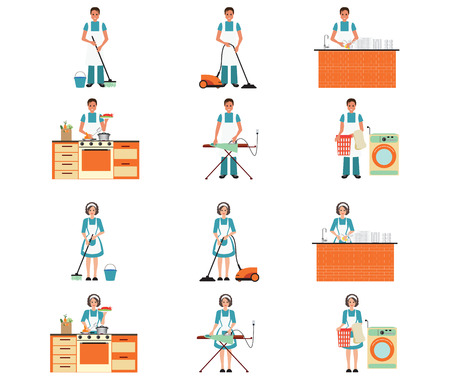 cleansing: Set of housewife and house husband cleaning, ironing, cooking and washing with equipment cleansing  isolated on white,set character vector illustration.