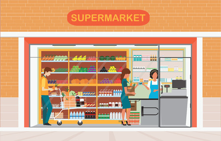 grocery shelves: People in supermarket grocery store, Supermarket building and interior with fresh food on shelves and counter cashier, Flat vector illustration.