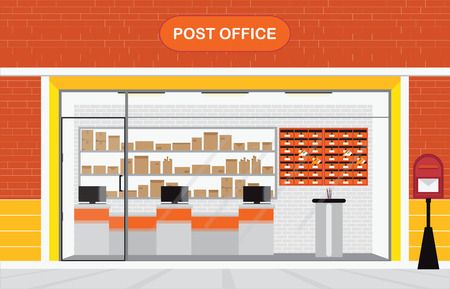post office building: Modern exterior and interior of post office Building with counter service and post box, front store vector illustration.