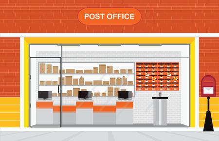 Nowoczesne zewnątrz i wewnątrz budynku dawnej poczty z obsługą licznika i skrzynki pocztowej, z przodu ilustracji wektorowych sklepu. Ilustracje wektorowe