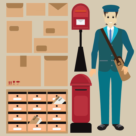 letter box: Set of postman with letter box ,Letter symbols and pictograms,parcel letter and Locker post box, vector illustration.