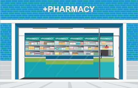 陥を建物正面し、概念ベクトル図、医薬品の棚でドラッグ ストアや薬局店の間。