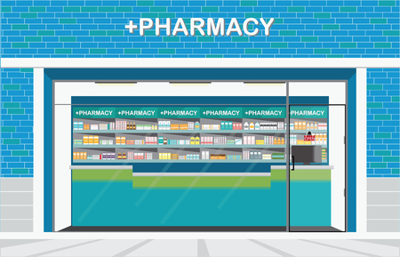 drug store: Building exterior front view and interior of drug store or pharmacy shop with shelves of medicines, conceptual vector illustration.
