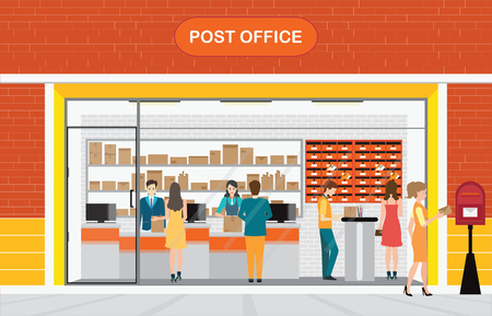 post office building: Modern exterior and interior of post office Building with counter service and post box with customer, front store vector illustration.