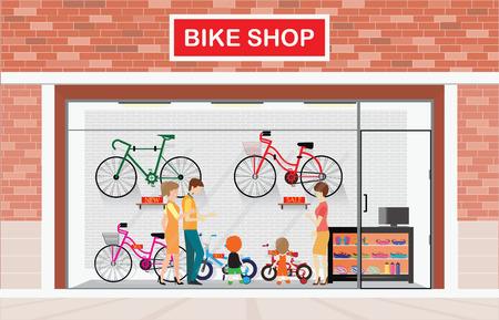 Los hombres y las mujeres con niños de comprar la bicicleta en las tiendas de bicicletas, tienda de ilustración vectorial. Ilustración de vector