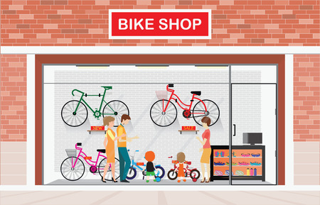 Men and women with kids buying bicycle at bike shops, shop vector illustration.