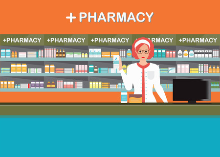 Female pharmacist at the counter in a pharmacy opposite of shelves with medicines, drug store, Health care conceptual vector illustration.