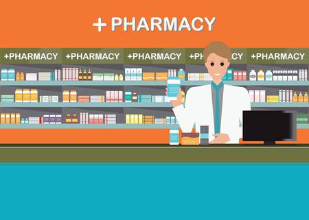 drug store: Male pharmacist at the counter in a pharmacy opposite of shelves with medicines, drug store, Health care conceptual vector illustration.