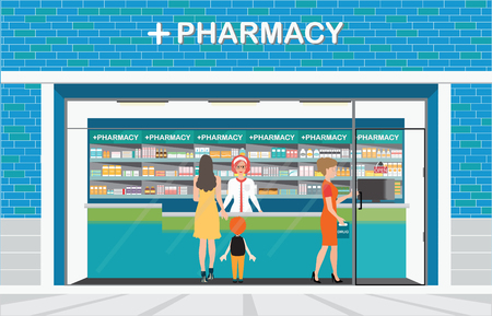 druggist: Female pharmacist at the counter in a pharmacy shop opposite of shelves with medicines, building exterior front view and interior, drug store Health care conceptual vector illustration.