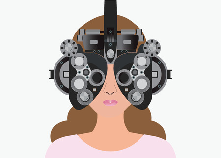 Woman looking through phoropter during eye exam, equipment of test eye for Ophthalmologist, health care Vector illustration.
