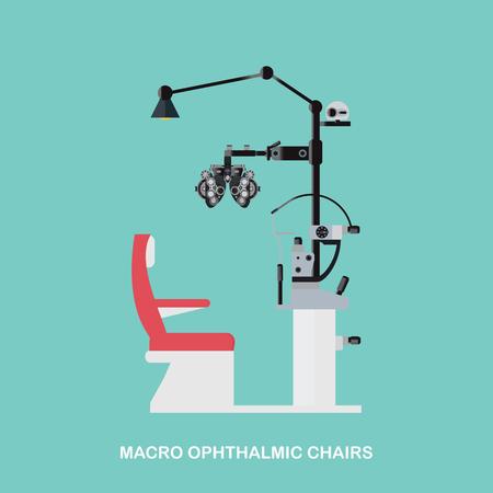 Marco oogheelkundige Stoelen, Optometristen oogonderzoek-apparatuur, Eye Exam Stoel op een witte achtergrond, vector illustratie.