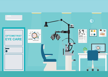 Ophthalmologist interior office with Phoropter, ophthalmic testing device machine, medical care flat design, Vector illustration.