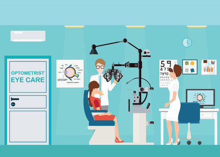 medical testing: Doctor and patient at Ophthalmologist interior office with Phoropter, ophthalmic testing device machine, medical care flat design, Vector illustration.