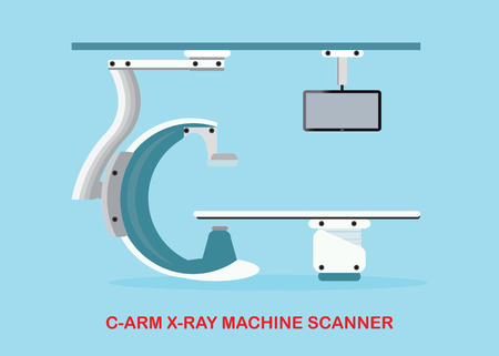 xray machine: Operating room with Xray medical scan, Angiography Machine or C Arm X-Ray Machine Scanner, vector illustration.