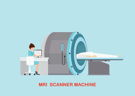 Doctor scanning mri patient with MRI scanner machine technology and diagnostics , medical Health care Vector illustration.