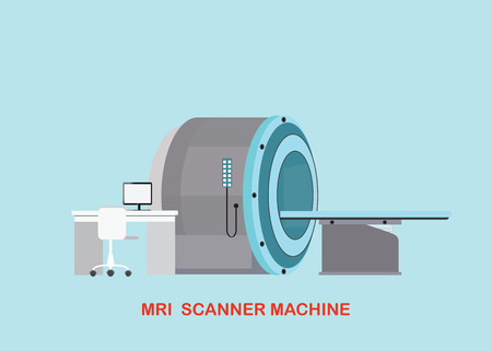xray machine: MRI scanner machine technology and diagnostics , medical Health care Vector illustration. Illustration
