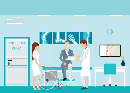 centers: Doctor and patient at Orthopedic clinics and diagnostic centers with the skeletal spinal bone structure of Human Spine and hospital bed ,medical health care anatomy vector illustration.