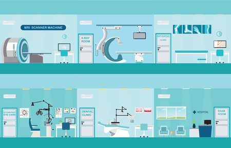 Info graphic of Medical services, dental care, x-ray, Orthopedic clinics, MRI scanner machine, ophthalmic testing device machine, C Arm X-Ray, health care conceptual vector illustration.