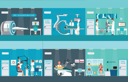Doctors and patients in hospitals, Medical services, dental care, x-ray, Orthopedic clinics, MRI scanner machine, ophthalmic testing device machine, C Arm X-Ray, health care conceptual vector illustration. Illustration