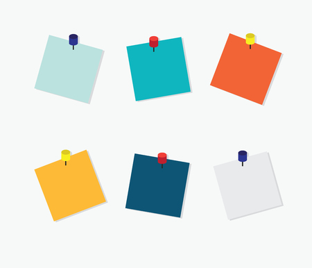 post it: Blank Colorful Sticky Notes, Post it note with pin on white background, vector illustration. Illustration