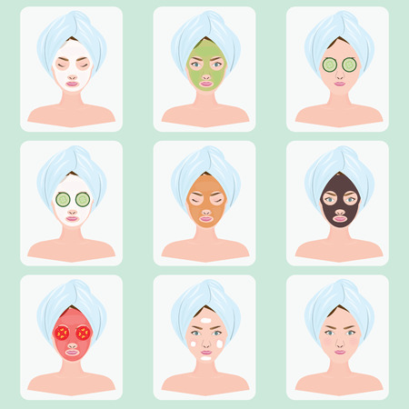 Beautiful woman with facial mask of cucumber slices, tomato slice, clay on face, vector illustration.