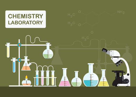 Chemical laboratory science with microscope technology,Science, education, chemistry, experiment, laboratory concept, vector illustration. Illustration