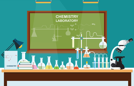 Chemical laboratory Science lesson with microscope technology,Science, education, chemistry, experiment, laboratory concept, vector illustration.