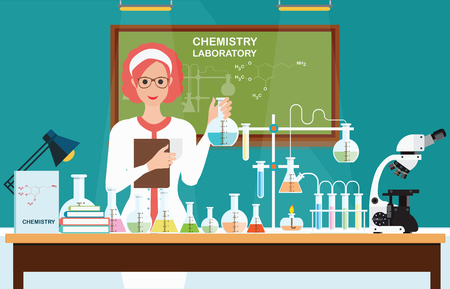 Female scientist at Chemical laboratory Science lesson with microscope technology,Science, education, chemistry, experiment, laboratory concept, vector illustration. Stock Illustratie