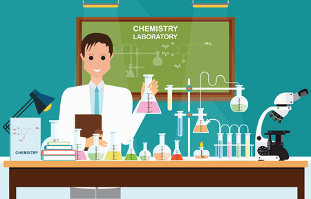 Male scientist at Chemical laboratory Science lesson with microscope technology,Science, education, chemistry, experiment, laboratory concept, vector illustration. Illustration