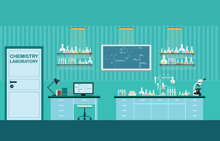 Science lab interior or laboratory room,Physics education concept, vector illustration.