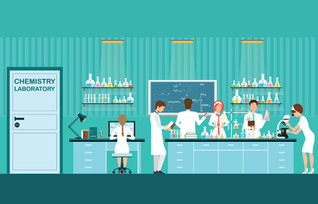 female scientist: Scientist male and female making research and experiments at science lab interior , working in laboratory room, vector illustration. Illustration
