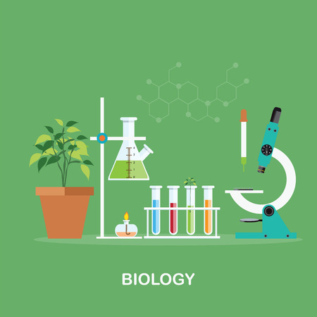 scientific research: Biology laboratory workspace and science equipment , microscope, cnceptual Scientific research , vector illustration.