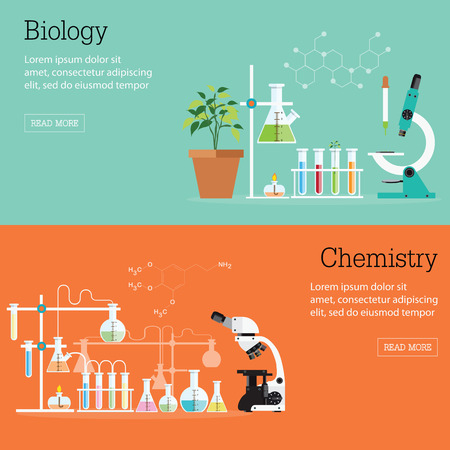 scientific research: Chemistry and Biology laboratory science with equipment , microscope, conceptual Scientific research , vector illustration.