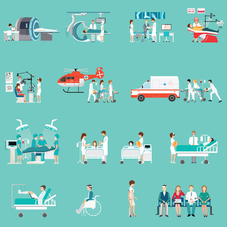 Medical Staff And Patients Different character in hospital, clinic, people cartoon character isolated on background, health care conceptual vector illustration. Vettoriali