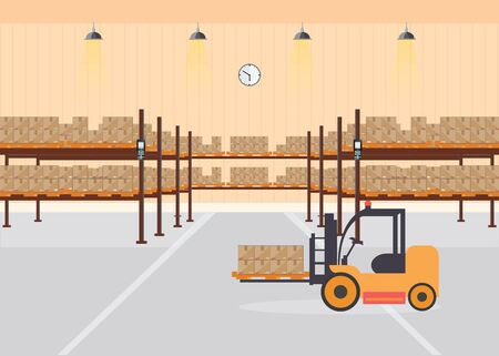Warehouse interior load boxes and pallet on shelves, Industrial warehouse with forklift, delivery and bar code scanner,vector illustration