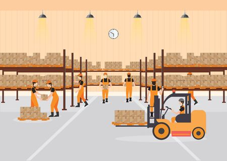 Workers working at warehouse interior load boxes and pallet on shelves, Industrial warehouse with forklift, delivery and bar code scanner,vector illustration