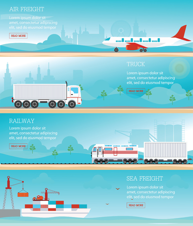air freight: Infographic of Industrial transport, air Freight , railway train, cargo ships  and truck, logistics conceptual vector illustration.