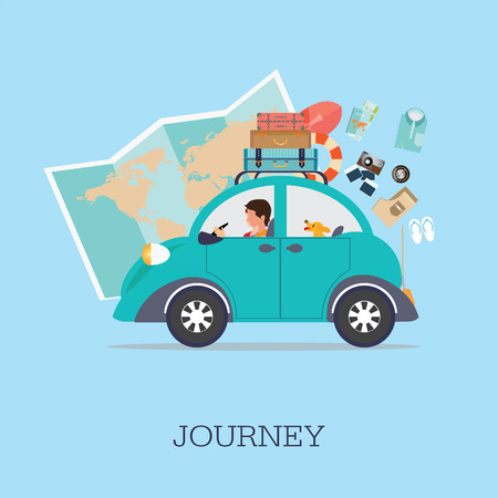 Planning summer vacations, Travel by car , World Travel, Summer holiday,Tourism and vacation theme. Flat design vector illustration.