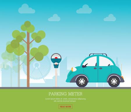 Parkplatz mit Parkuhr auf Blick auf die Stadt Hintergrund, Parkplatz, Parkzone konzeptionelle Vektor-Illustration.