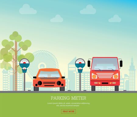 Car park with parking meter on city view background, parking lot , parking zone conceptual Vector Illustration.