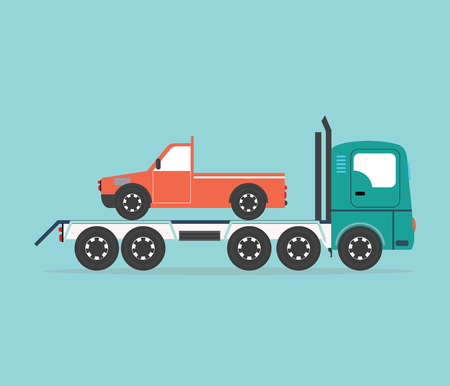 intention: Tow truck driven cars isolated on blue background, conceptual transportation Flat design vector illustration. Illustration