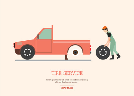auto service: Tire service, man worker changing tire, car service, tire change, tire mechanic, auto service, auto repair flat design Vector illustration.