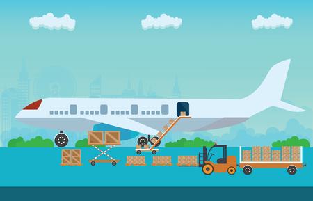 Ladeboxen mit Plattform von Luftfracht in die Flucht Flugzeug vorzubereiten. Luftfrachttransport konzeptionellen, Wohnung Stil Vektor-Illustration.