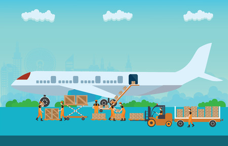 boeing: Workers working to Loading boxes preparing to flight aircraft with platform of air freight. Air cargo transportation conceptual, Flat style vector illustration.