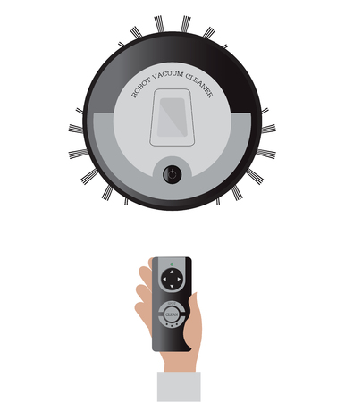 dirty carpet: Remote control of robotic vacuum cleaner isolated on white background, technology vector illustration. Illustration