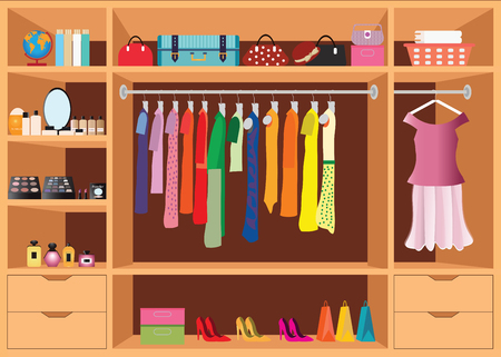 Flat Design Walk In Closet With Shelves For Accessories And Cosmetic Make  Up, Interior Design