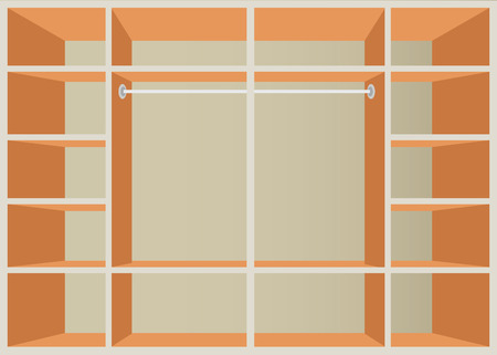 walk in closet: Flat Design walk in closet with shelves, interior design, Furniture Wardrobe room, vector illustration.