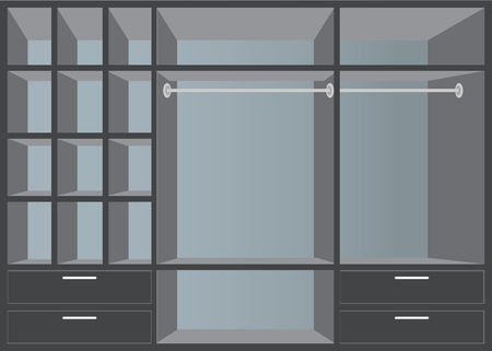 walk in closet: Flat Design walk in closet with shelves, interior design, Furniture Wardrobe room, vector illustration.